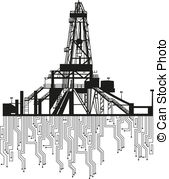 Vector Clip Art of Oil rig silhouette isolated on white background.
