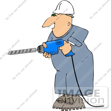 Middle Aged Caucasian Man Holding a Power Drill Clipart.