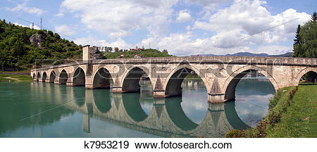 Stock Photograph of stone bridge on river Drina, Bosnia k7953219.