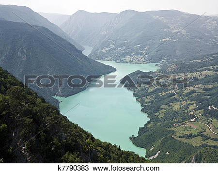 Stock Photo of Tara Mountain and Drina rivers k7790383.