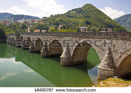 Picture of Old bridge on Drina river.