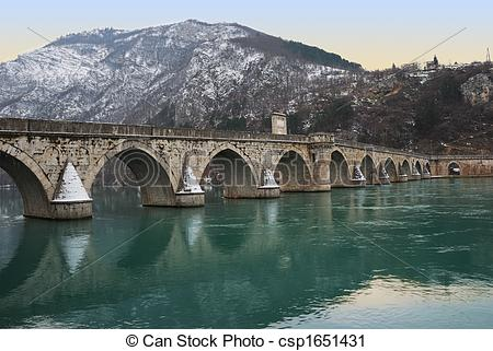 Stock Photography of Famous Bridge on Drina.