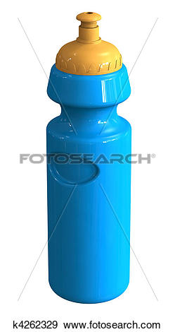 Stock Illustration of sports drink bottle with blue body and.