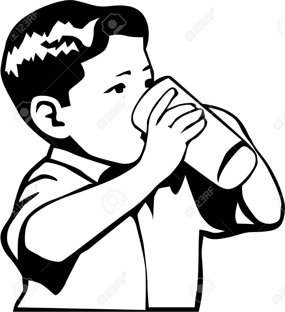 Boy Drinking Illustration on white background..