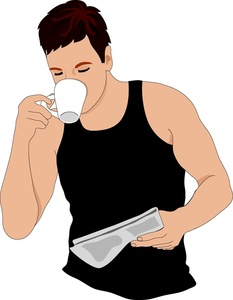 Man drinking coffee clipart.