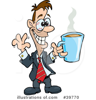 Man drinking coffee clipart.
