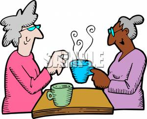 Ladies Drinking Coffee Clipart.