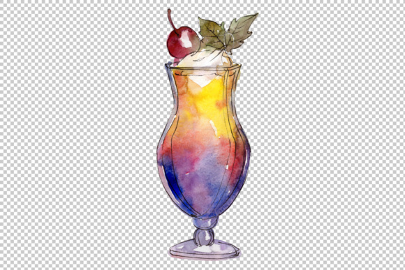 Watercolor exotic drink cocktail PNG set.