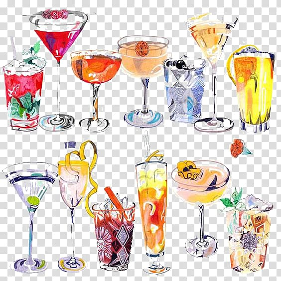Wine glass lot, Cocktail Drawing Art Drink Illustration, Drink.