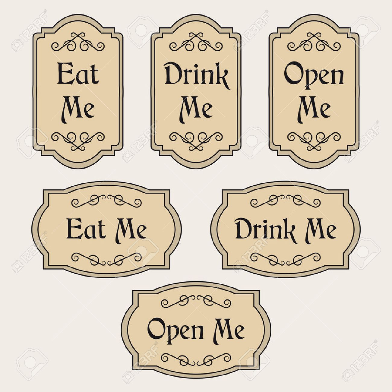 Vintage vector set with labels Eat me, Drink me, Open me.