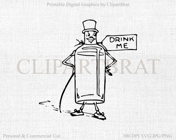 ALICE IN WONDERLAND Clipart Commercial Use Clipart Drink Me.