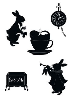 White Rabbit Alice In Wonderland Silhouettes Clipart.