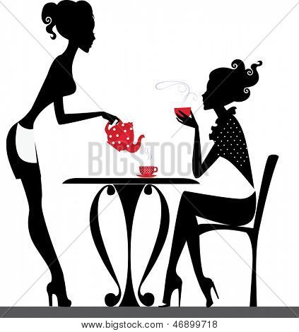 silhouette of a two girls drink tea.
