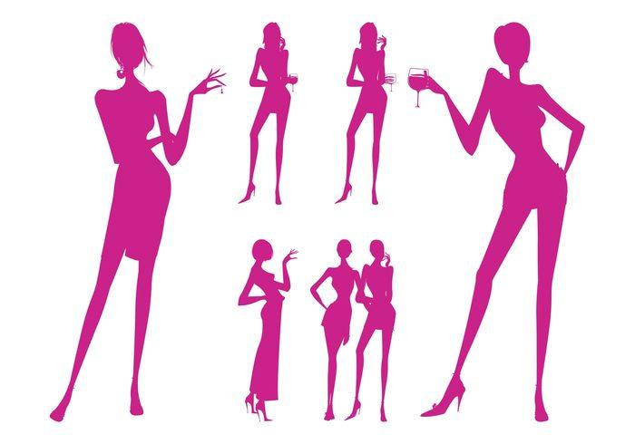 Drinking Women Silhouettes.