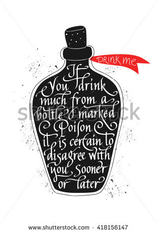 Alice In Wonderland Drink Me Bottle Drawing