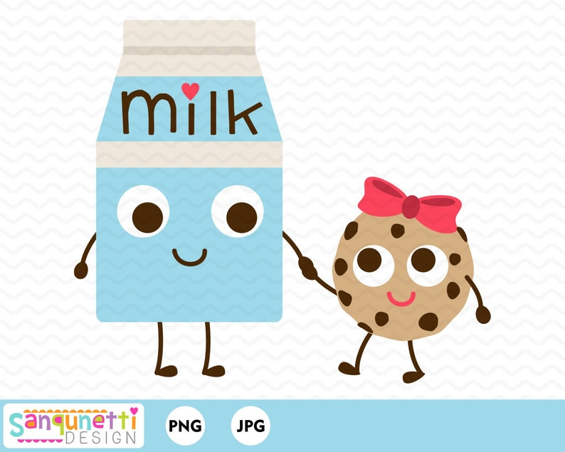 Milk and Cookie Clipart, food and drink digital art.