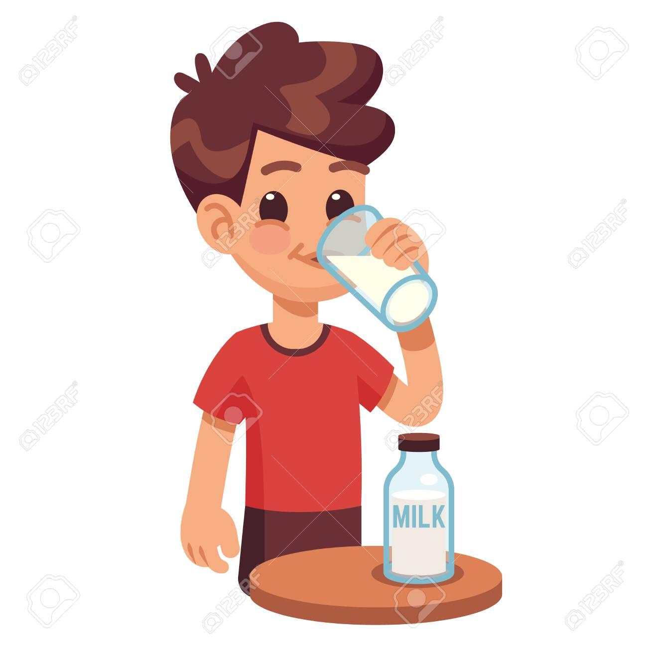 Boy drinks milk. Kid holding and drinking milk in glass. Milk...