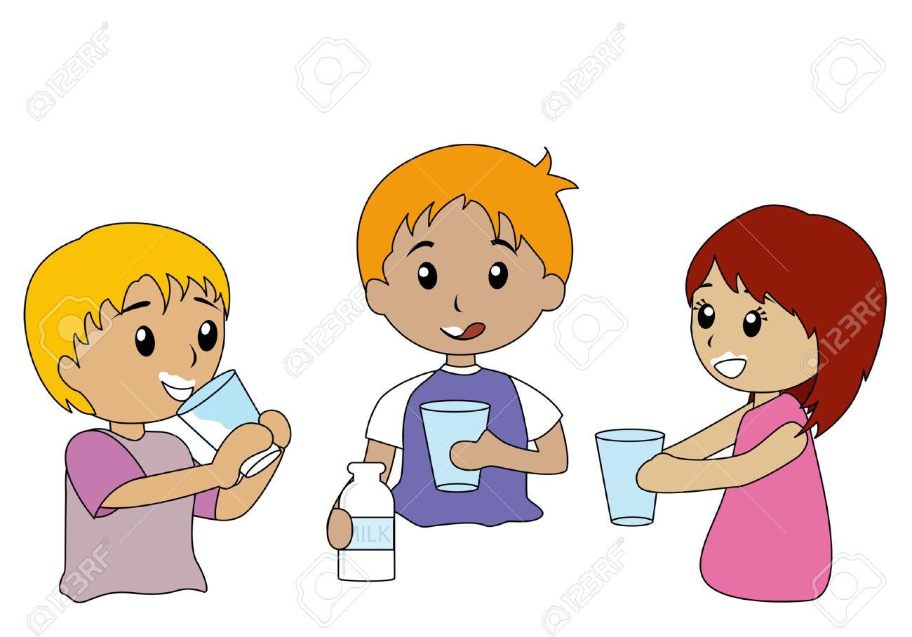 Illustration of Kids Drinking Milk.