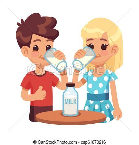 Kids drink milk. Cartoon children, boy and girl with milk glass. Healthy  breakfast vector concept.