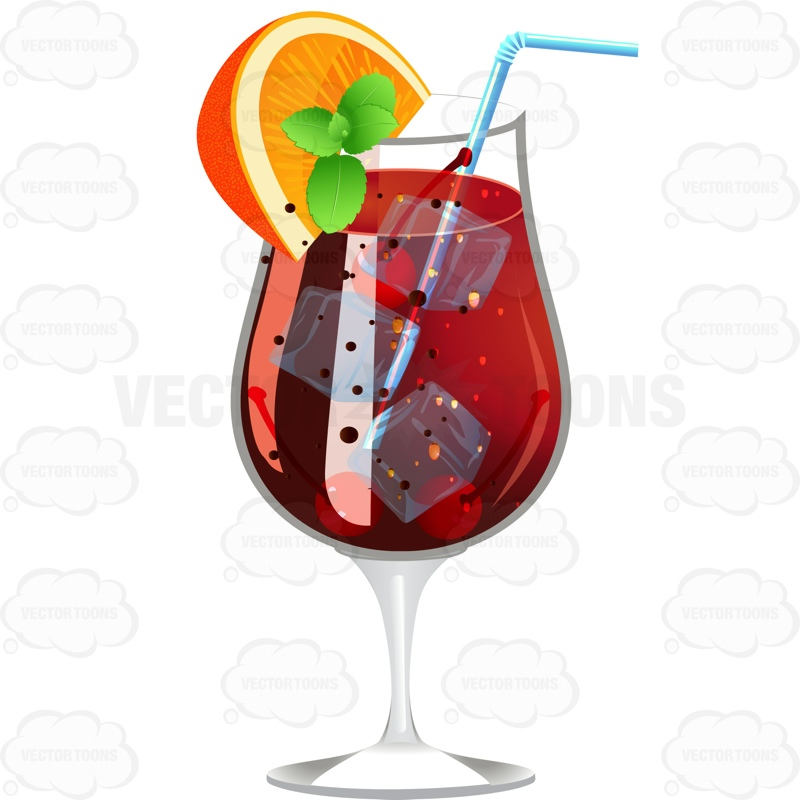 Dark Red Drink Garnished With A Lemon Wedge And Mint Cartoon Clipart.