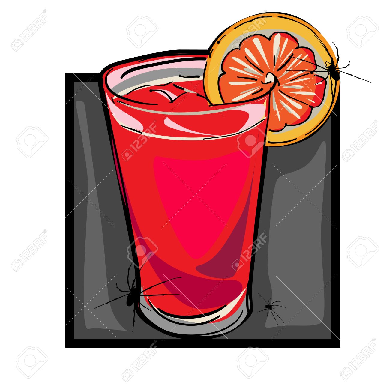 Hand Drawn Clip Art Illustration Of A Bloody Mary Drink With.
