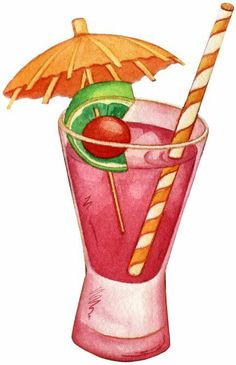 Cocktail with Lemon and Umbrella PNG Clip Art Image.