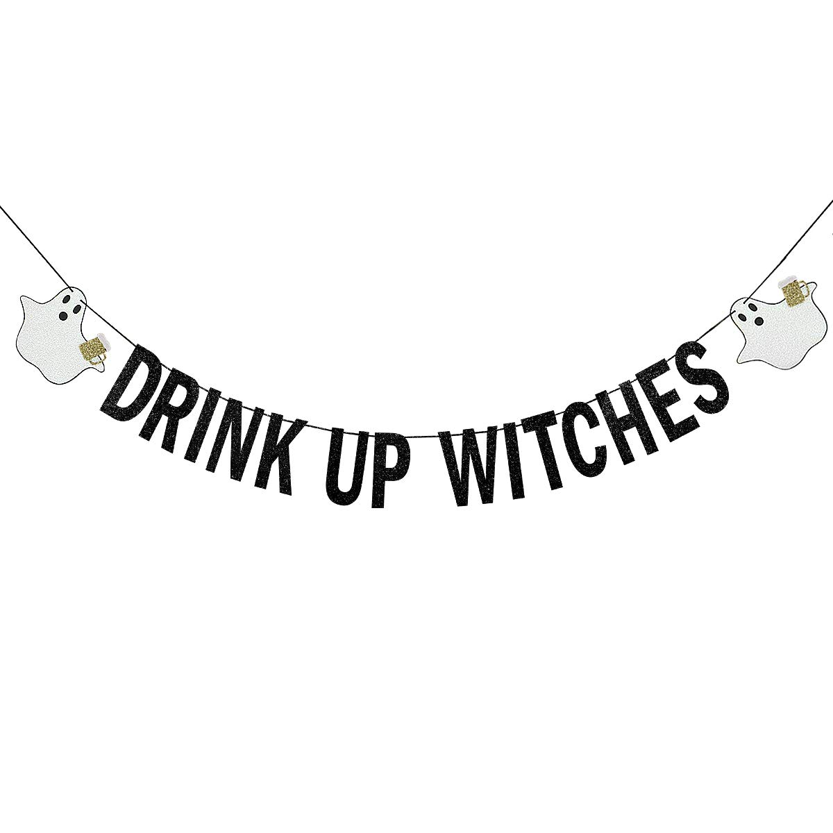 Black Glittery Drink Up Witches Banner,Halloween Party Decor Haunted House  Decoration Supplies.