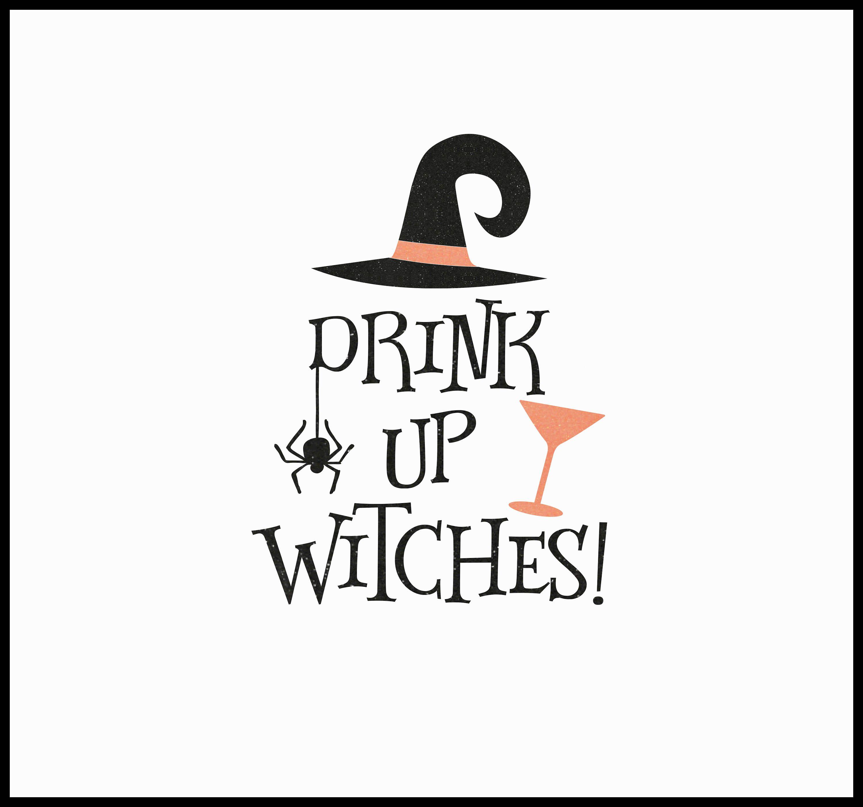 Drink Up Witches Glitter Vinyl Iron On Halloween Heat.