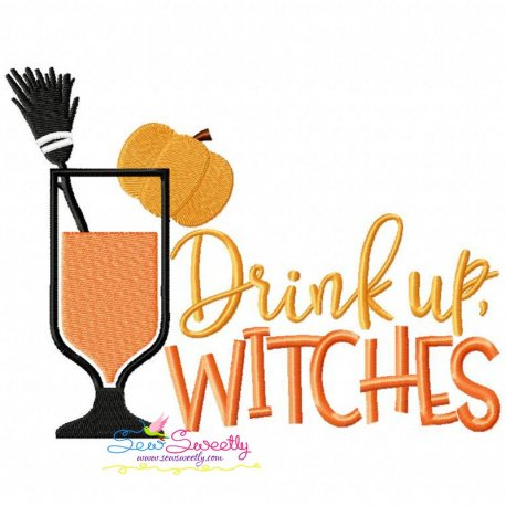 Drink Up Witches Lettering Machine Embroidery Design For Halloween.