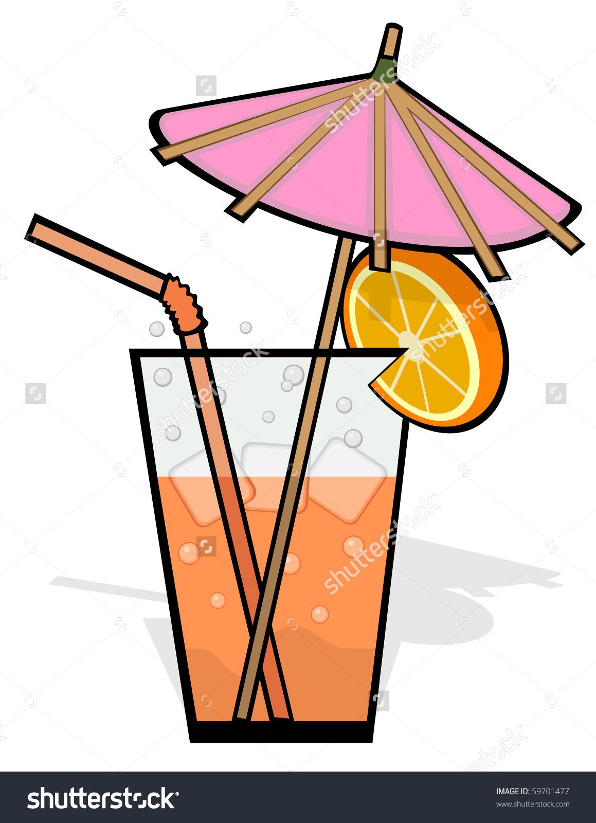 Vector Drink Garnished Pink Umbrella Straw Stock Vector 59701477.