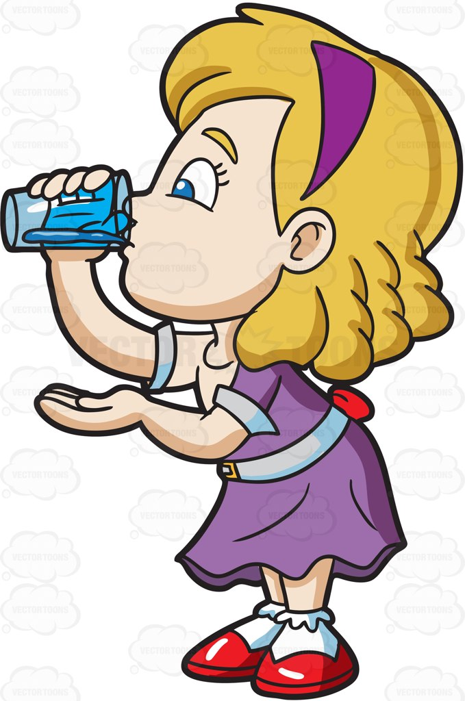 A Girl Carefully Drinks A Glass Of Water Cartoon Clipart.