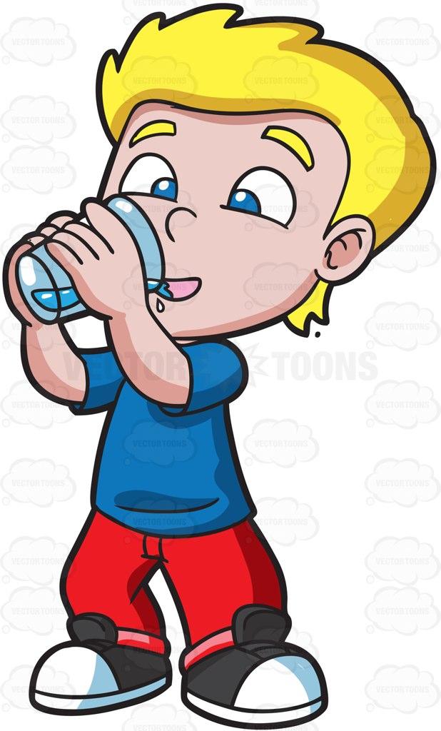 A Happy Boy Drinking Water Cartoon Clipart.