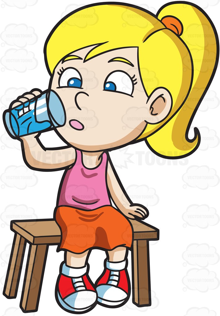 A Girl Curiously Looking At The Glass Of Water Cartoon Clipart.