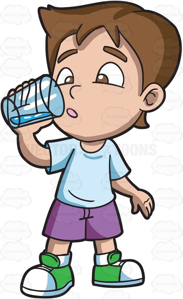 A Boy Looking Curious At The Water That He Is Drinking Cartoon Clipart.