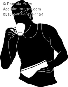 Clipart man drinking coffee.