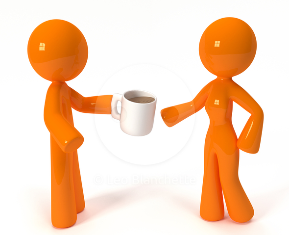 Free Drinking Coffee Clipart Image.