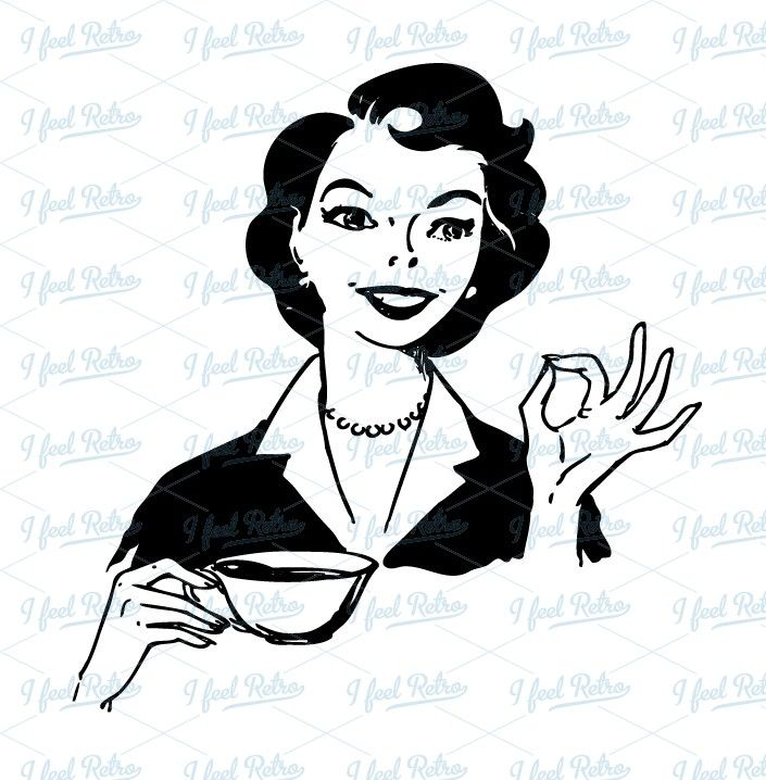 Retro woman drinking clipart.