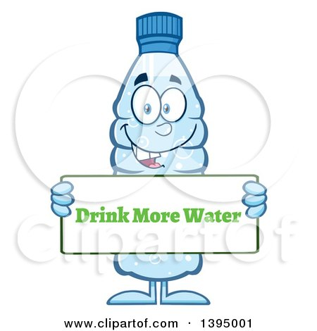 Clipart of a Cartoon Bottled Water Mascot Holding a Drink More.