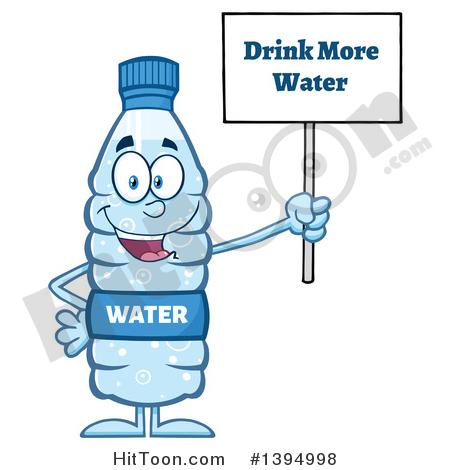 Water Bottle Clipart #1394998: Cartoon Bottled Water Mascot.