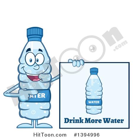 Water Bottle Clipart #1394996: Cartoon Bottled Water Mascot.