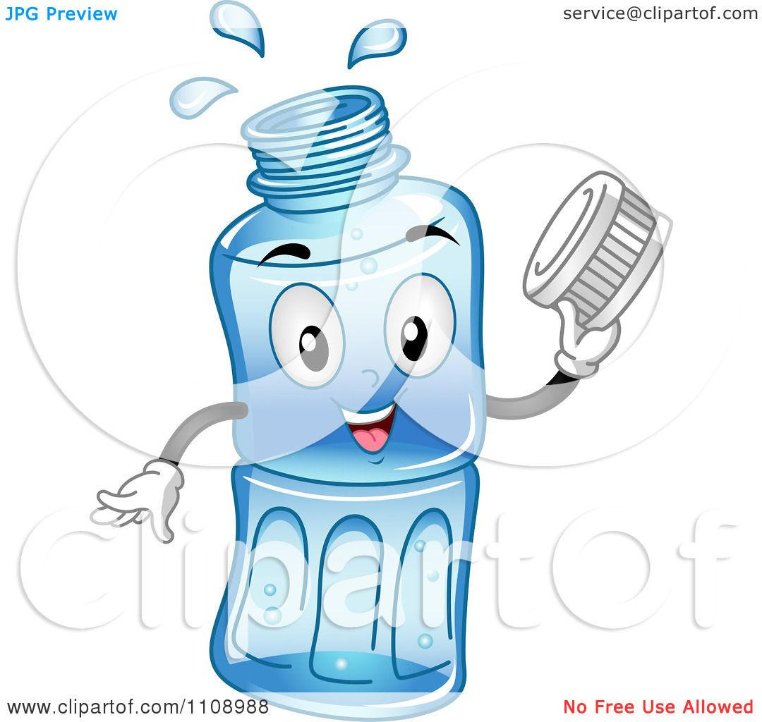 Clipart Happy Bottled Water Mascot Holding A Cap.