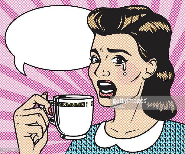 60 Top Woman Drinking Coffee Stock Illustrations, Clip art, Cartoons.