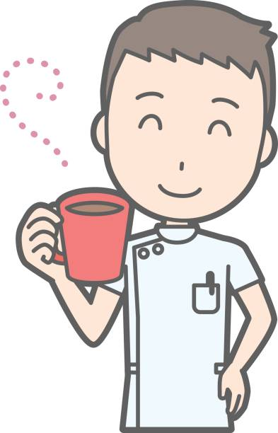 Teacher Drinking Coffee Illustrations, Royalty.