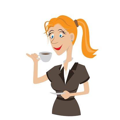 Girl Drinking Coffee premium clipart.
