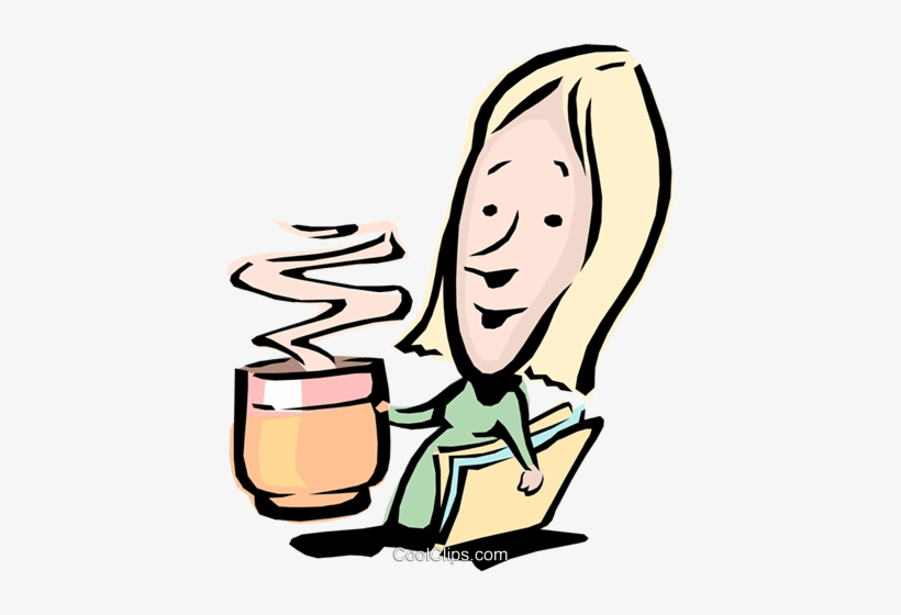 Cartoon Woman With A Cup Of Coffee Royalty Free Vector.