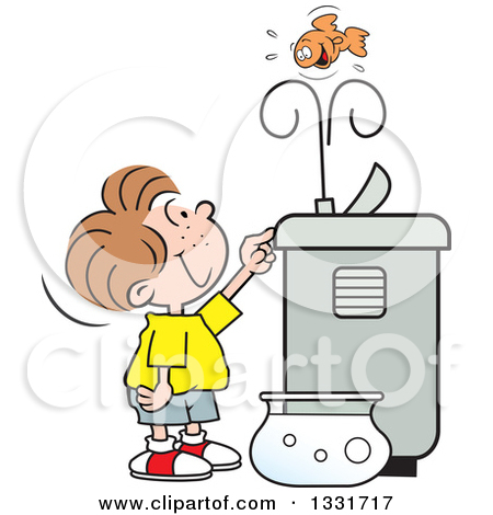 Clipart of a Cartoon Caucasian Girl Playing with the Spray of a.