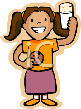 Girl drinking milk clipart.