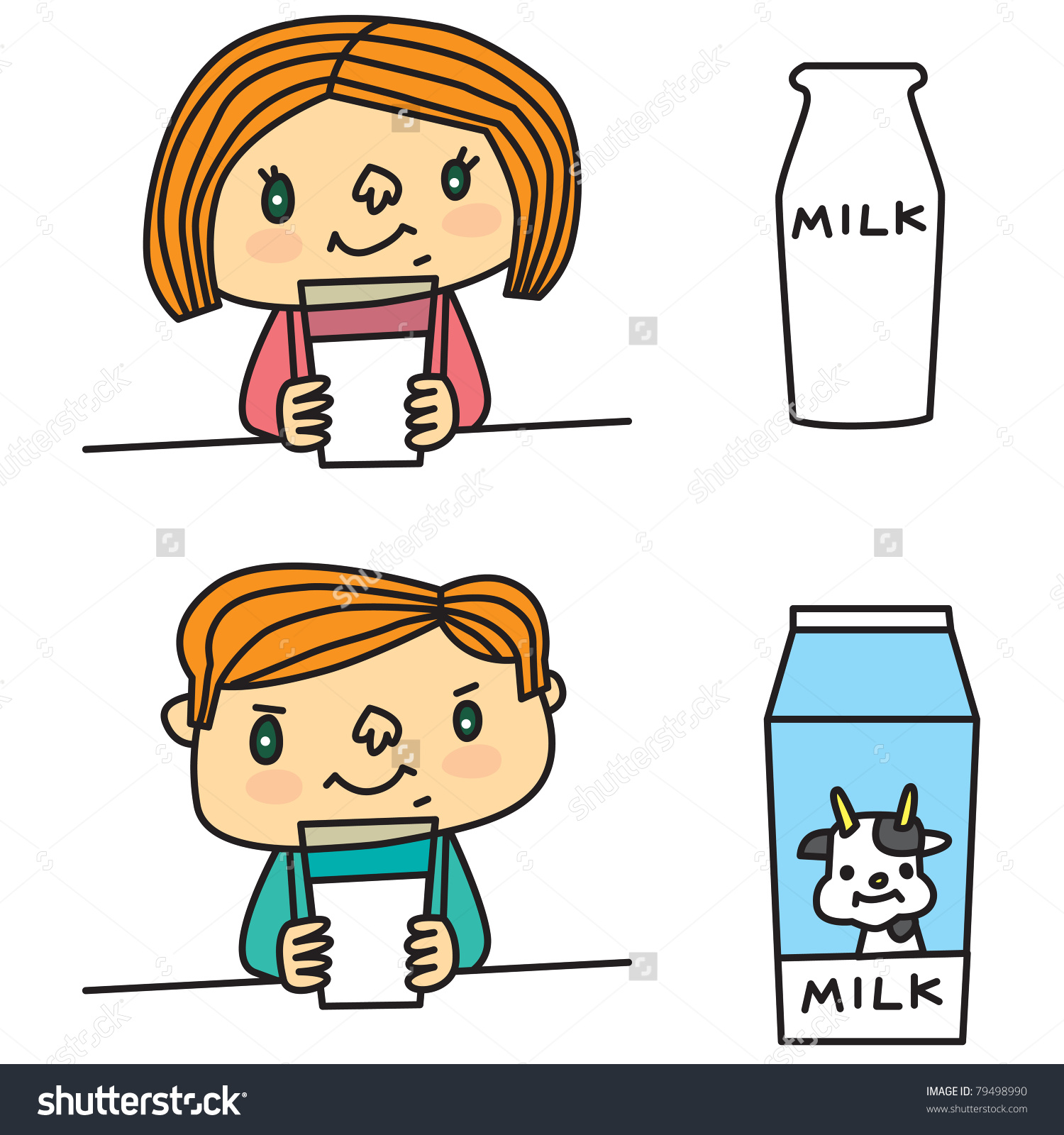Boy drinking milk clipart.