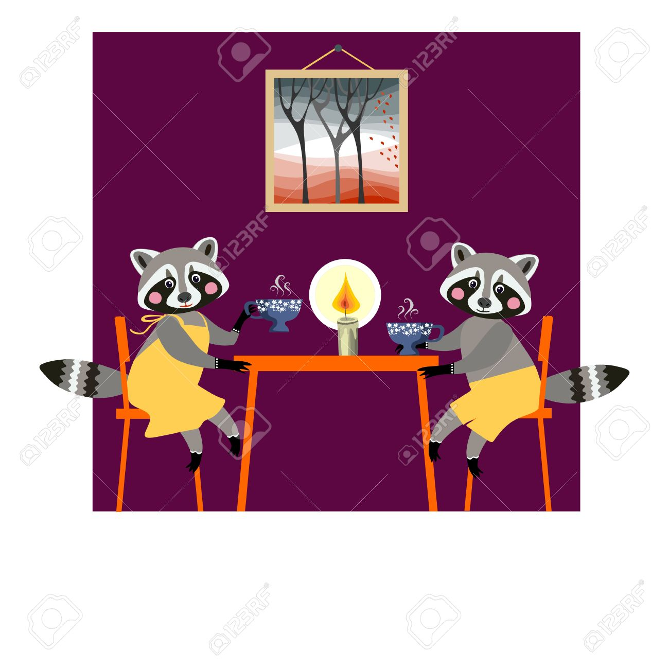 Cute Raccoons Drink Tea. Teatime. Beautiful Vector Card With.