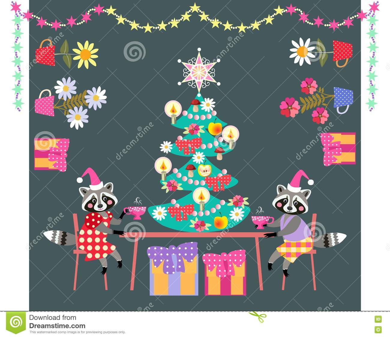 Merry Christmas! Cute Raccoons Drinking Tea. Stock Vector.